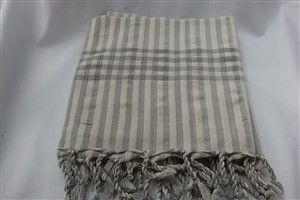 Peshtemal - Rug Colleciton - Beige - Grey striped