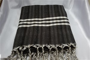 Peshtemal - Rug Colleciton - Black - Grey Striped