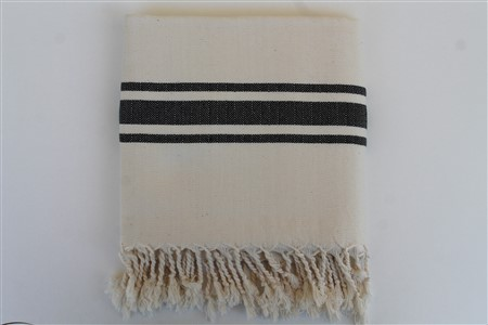 Peshtemal - Rug Colleciton - Black striped cream Herringbone