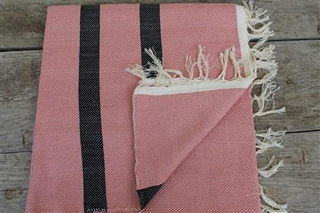 Rug - Rug Colleciton - Black striped  light pink rug
