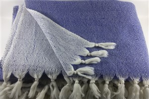 Wool Clothes - Rug Colleciton - Blue Herringbone blanket