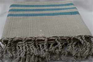 Peshtemal - Rug Colleciton - Blue striped beige Chain Pattern