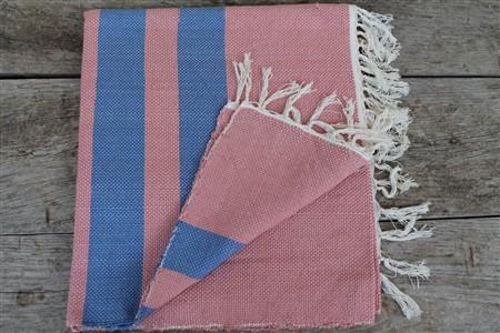 Rug - Rug Colleciton - Blue striped  light pink rug