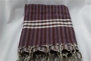 Peshtemal - Rug Colleciton - Claret red- Grey Striped