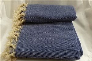Cotton Clothes - Herringbone  Throw Collection - Dark Blue - Herringbone