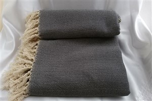 Cotton Clothes - Herringbone  Throw Collection - Dark  Grey -  Herringbone