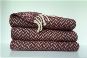 Wool Clothes - Rug Colleciton - Herringbone Claret red Wool Throw Blanket