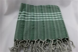 Peshtemal - Rug Colleciton - Green - Grey Striped