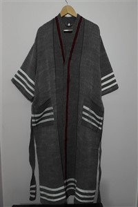 Bathrobe - Bathrobe Collection - Claret red Coral with white line