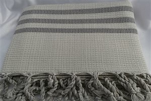 Peshtemal - Rug Colleciton - Grey striped Beige Chain Pattern
