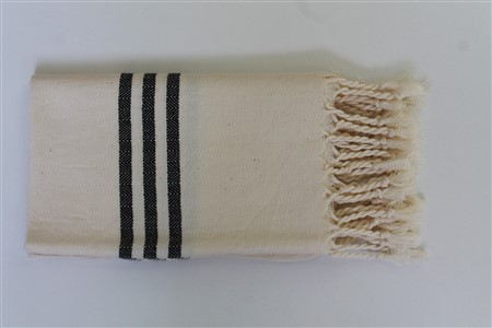 Hand Towel - Rug Colleciton - Herringbone black striped cream hand towel