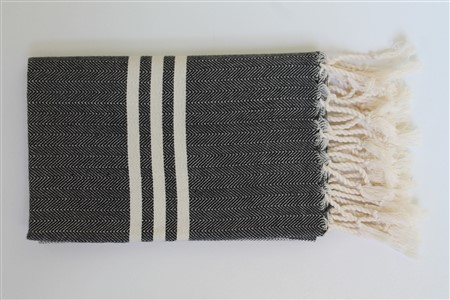 Hand Towel - Rug Colleciton - Herringbone Black