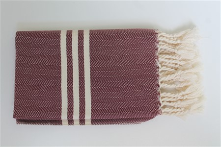 Hand Towel - Rug Colleciton - Herringbone Claret red
