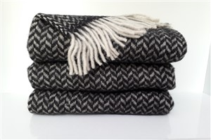 Wool Clothes - Rug Colleciton - Herringbone dark green throw blanket