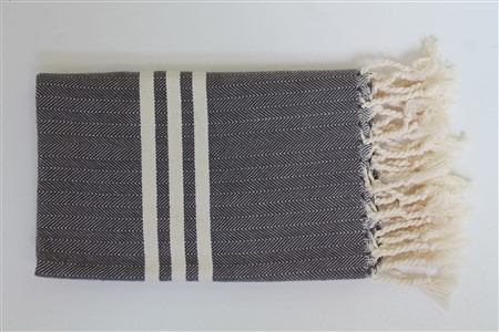 Hand Towel - Rug Colleciton - Herringbone Dark grey