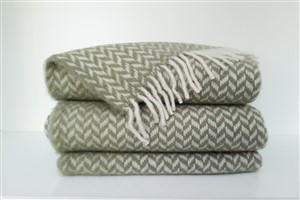 Wool Clothes - Rug Colleciton - Herringbone light green throw blanket