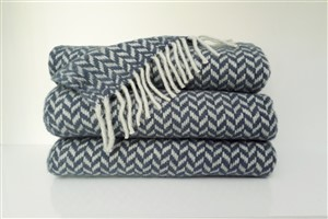 Wool Clothes - Rug Colleciton - Herringbone light blue  wool throw blanket