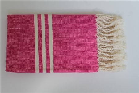 Hand Towel - Rug Colleciton - Herringbone pink hand towel