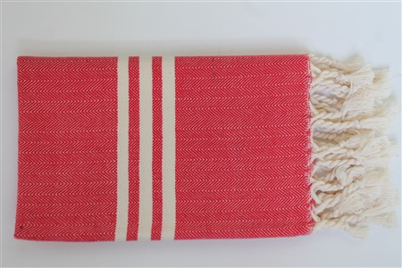 Hand Towel - Rug Colleciton - Herringbone red hand towel