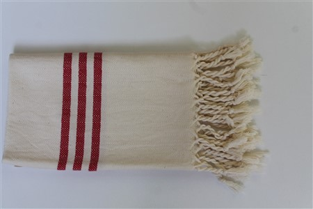 Hand Towel - Rug Colleciton - Herringbone red striped cream hand towel