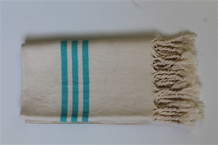 Hand Towel - Rug Colleciton - Herringbone turquoise striped cream hand towel