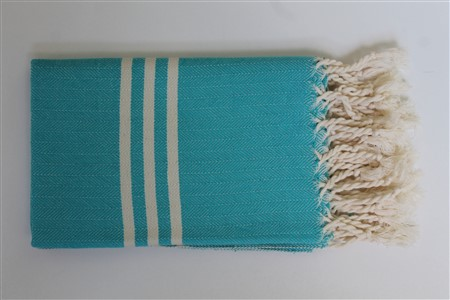 Hand Towel - Rug Colleciton - Herringbone Turquoise