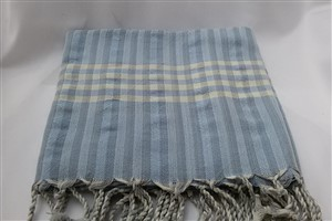 Peshtemal - Rug Colleciton - Light Blue - Grey Striped