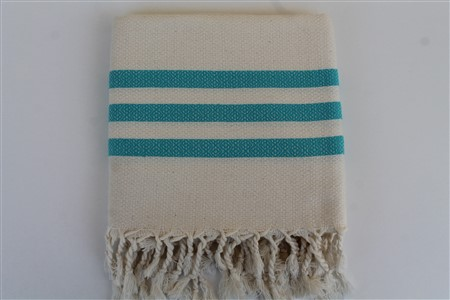 Peshtemal - Rug Colleciton - Cream- turquoise line Honeycomb