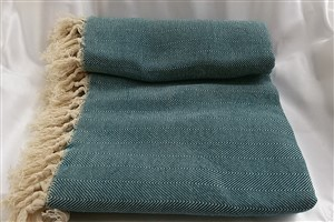 Cotton Clothes - Herringbone  Throw Collection - Oil Green - Herringbone