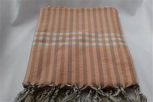 Peshtemal - Rug Colleciton - Orange - Grey Striped