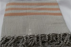 Peshtemal - Rug Colleciton - Orange striped Beige Chain Pattern