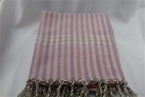 Peştemal - Kilim Koleksiyonu - Pembe - Gri çizgili