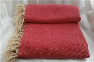 Cotton Clothes - Herringbone  Throw Collection - Red- herringbone