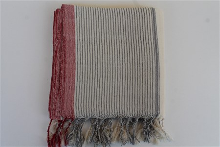 Peshtemal - Rug Colleciton - Red Striped pattern - cream peshtemal