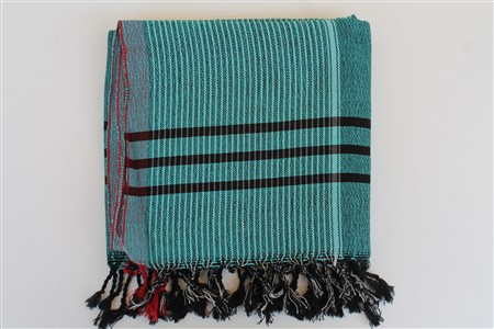 Peshtemal - Coral Collection - Red Striped pattern - dark turquoise