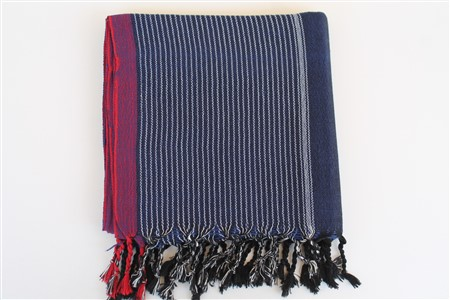 Peshtemal - Coral Collection - Red Striped pattern - navy blue peshtemal