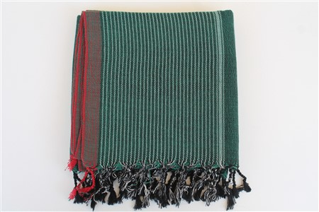 Peshtemal - Rug Colleciton - Red Striped pattern - oil green