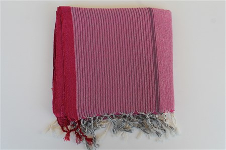 Peshtemal - Coral Collection - Red Striped pattern - pink peshtemal