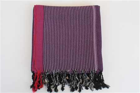 Peshtemal - Coral Collection - Red Striped pattern - purple peshtemal