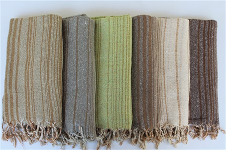 Silk Products - Silk Collection - Striped Raw Silk Scarf