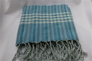 Peshtemal - Wave Collection - Turquoise - Grey striped