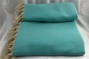 Cotton Clothes - Herringbone  Throw Collection - Turquoise - Herringbone