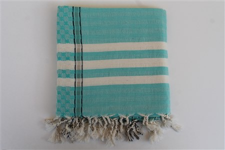 Peshtemal - Mussel Collection - Turquoise Checker