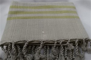 Peshtemal - Rug Colleciton - Yellow striped Beige Chain Pattern