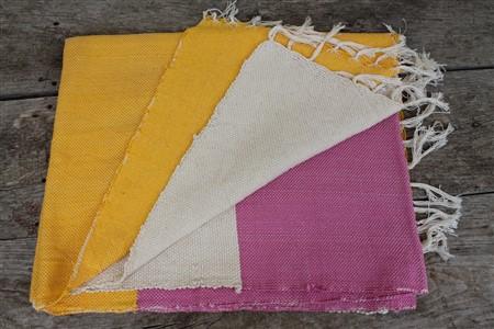 Rug - Rug Colleciton - Yellow White Pink Ribboned Rug